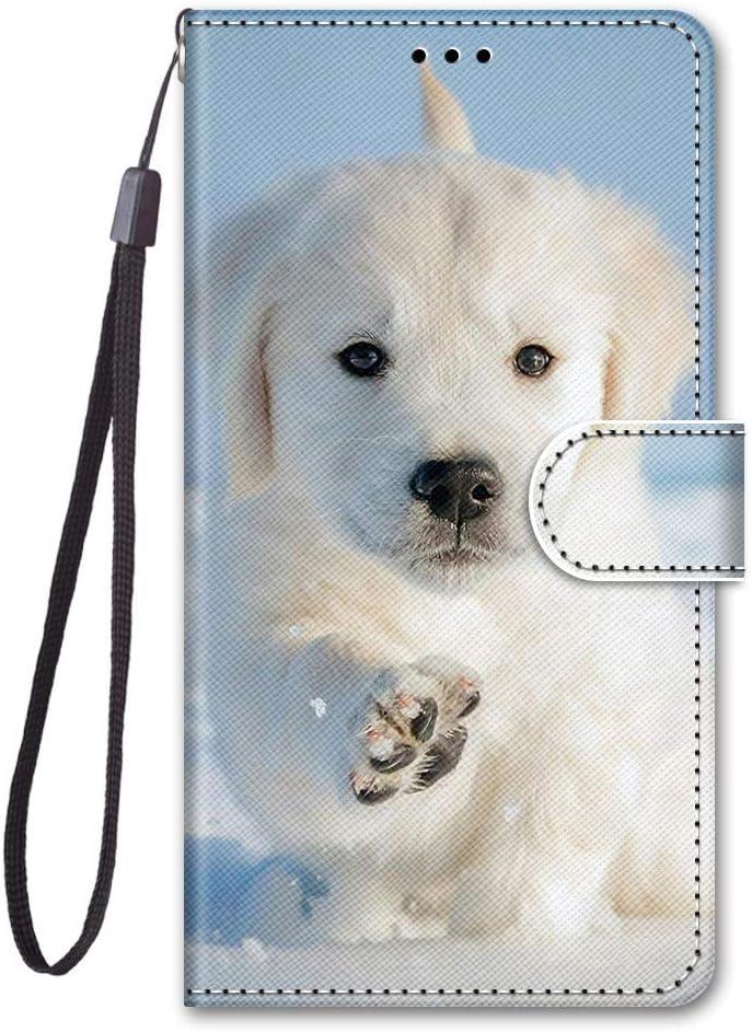 Latich Funda para Xiaomi Mi 5X Mi A1 Carcasa Libro PU Cuero Suave Billetera Cartera con Tapa,[Ranuras para Tarjetas] [Soporte Plegable] [Cierre Magnético],Perro Blanco