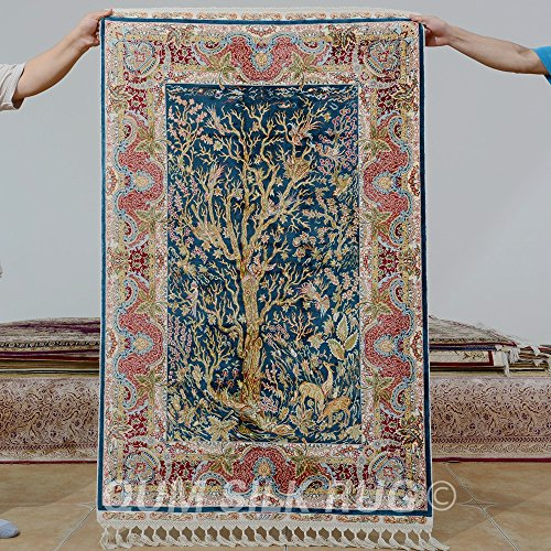 Camel Carpet Handmade Silk Tree of Life Area Room Rugs 90x140cm