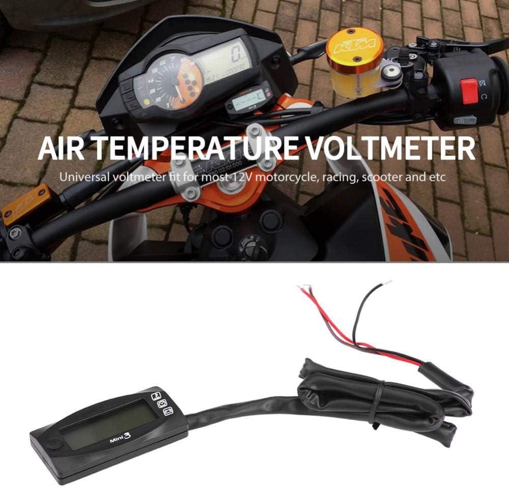 10 ℃ volt/ímetro de Motocicleta Digital Universal 3 en 1 Keenso Mini +60 ℃ Apto para la mayor/ía de los Scooters de Carreras de Motos Volt/ímetro de Tiempo de Aire LED de 12 V DC 6.0V-19.9V