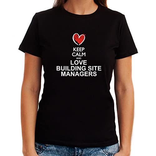 Idakoos Keep calm and love Building Site Managers chalk style Maglietta donna
