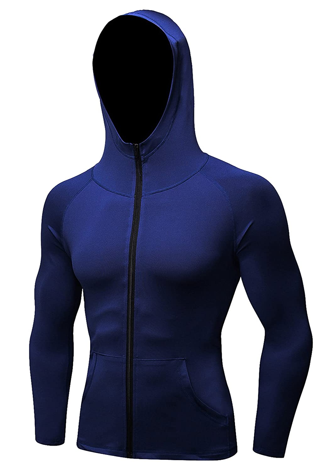 Panegy Men's Compression Hoodies Quick-Dry Lightweight Fitted Running Sweatshirt