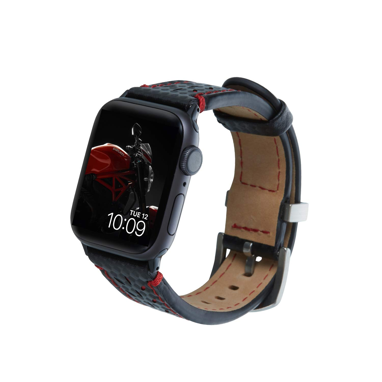 Mr. Time Smart Watch Band for Apple Watch 44mm 42mm, [Ducati Special Edition] Genuine Leather Sport Strap Replacement Bands Compatible for Apple Watch Series 4, 3, 2, 1 - Black