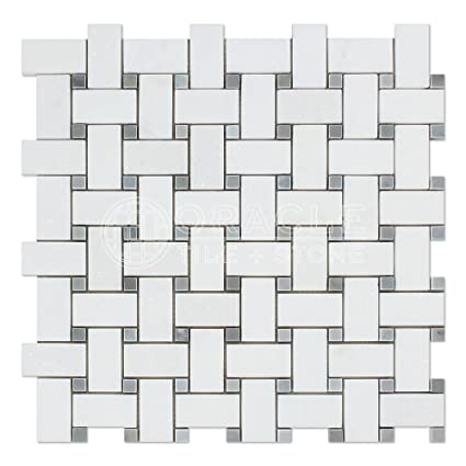 Thassos White Greek Marble Basketweave Mosaic Tile With Bardiglio Blue Gray Marble Dots Polished