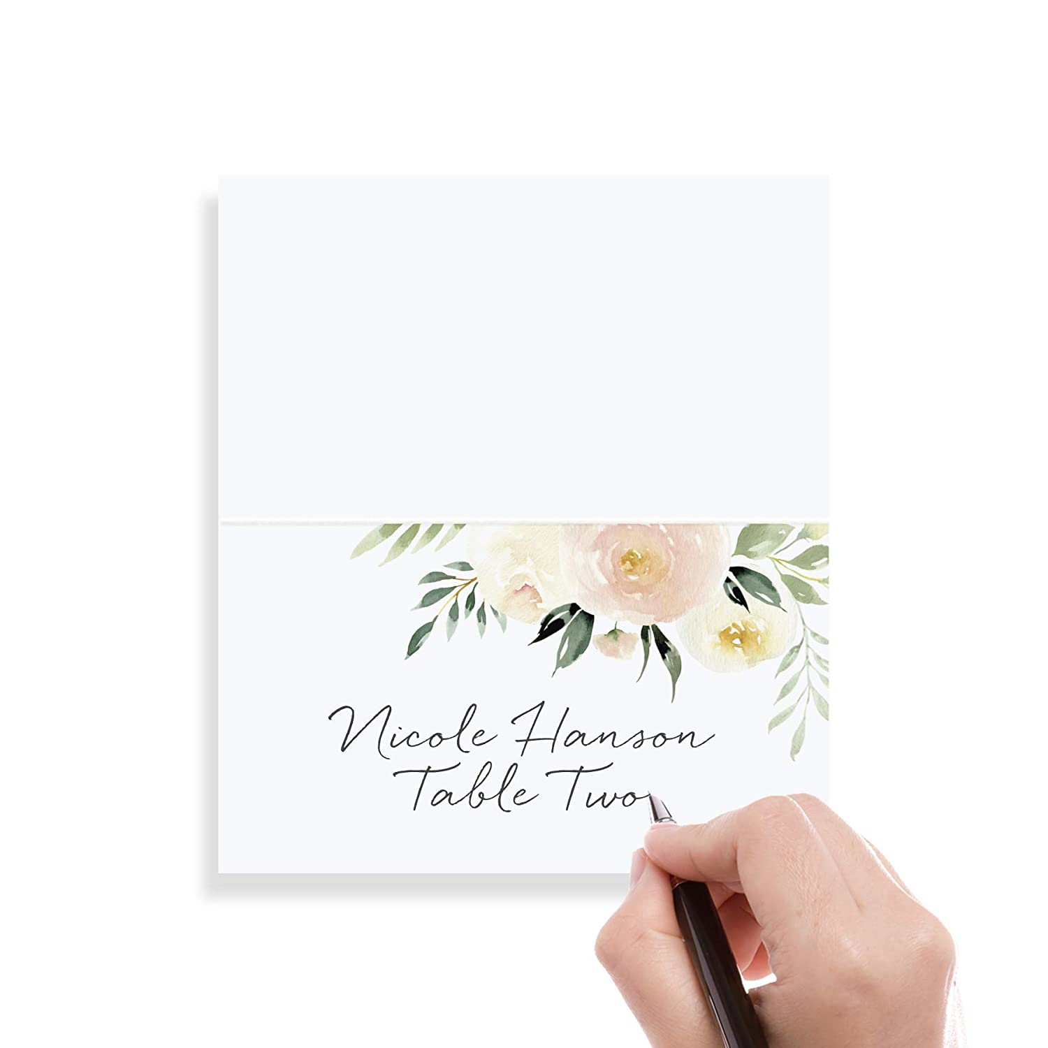 Floral Place Cards for Wedding or Party Seating Place Cards for Tables 50 Pack Scored for Easy Folding from Bliss Paper Boutique Blush Flower Design 2 x 3.5 inches