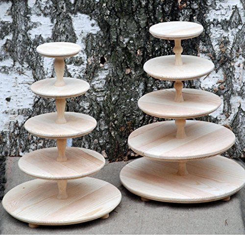 5 Five Tiered Wooden Wedding Cake Stand, Cake Pedestal, Stand For Cupcakes,  Wooden