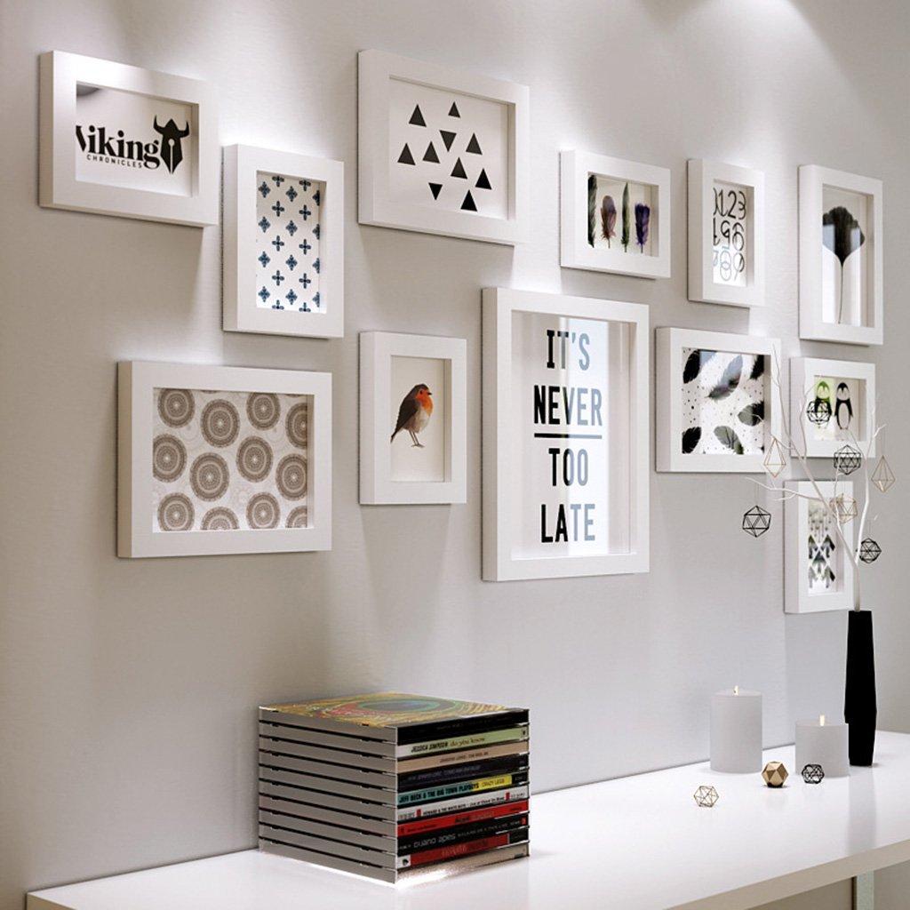DENGJU Bilderrahmen Schwarz-Weiß-Massivholz Fotowand Wohnzimmer Schlafzimmer Bilderrahmen Wandrahmen Wandrahmen Kreative Kombinationen Moderne Einfache Restaurants Fotowände ( Farbe   B )