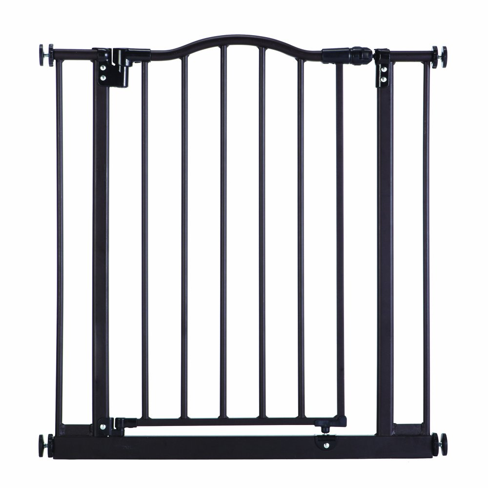 ''Portico Arch Gate'' by North States: A richly styled heavy-duty metal gate, meshing aesthetics with one-hand operation. Pressure mount. Fits openings from 28.25'' to 38.25'' wide (28.5'' tall, Bronze)