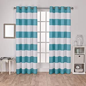 Exclusive Home Curtains Surfside Cabana Stripe Cotton Grommet Top Curtain Panel Pair, 54x96, Teal, 2 Count