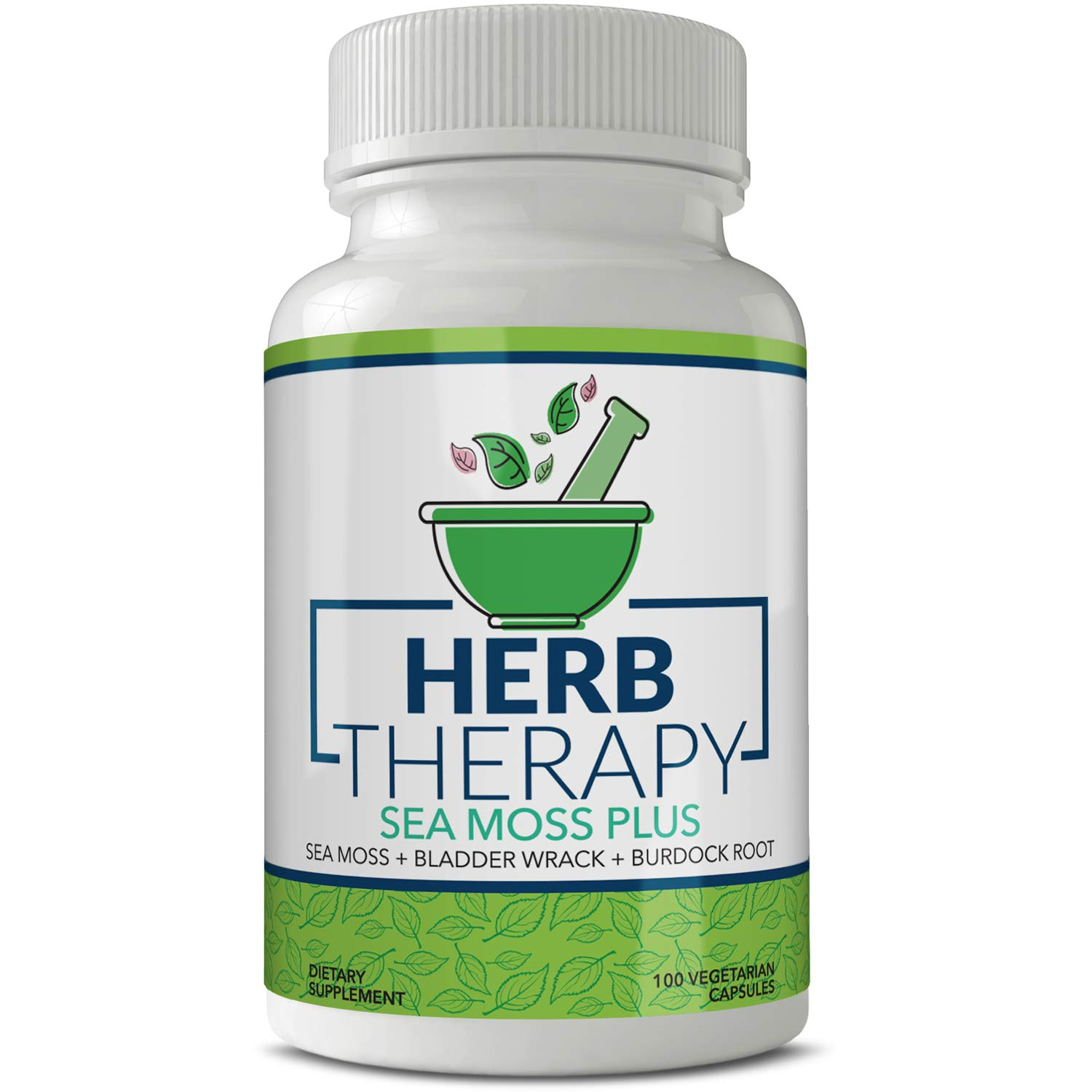 Herb Therapy Sea Moss Plus 100 Capsules 1500mg Irish Sea Moss Bladderwrack Burdock Root. Alkaline Supplements Non-GMO Thyroid Support No Fillers