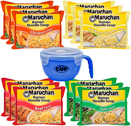 Maruchan Ramen Variety 4 flavors, Pack of 12 + By The Cup Microwavable Soup Bowl ()