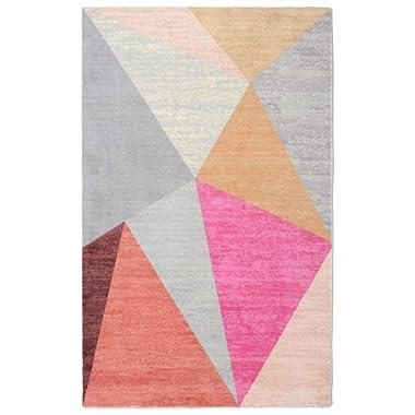 Rugsmith Pyramid Mid-Century Geometric Area Rug, 5'6  x 8'6 , Pink