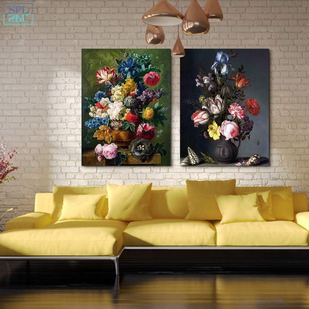 tzxdbh Pintura al óleo Retro Impresión en Lienzo Flor Arte de la Pared Decoración para el hogar Cartel y Pintura para la ornamentación del Dormitorio: Amazon.es: Hogar
