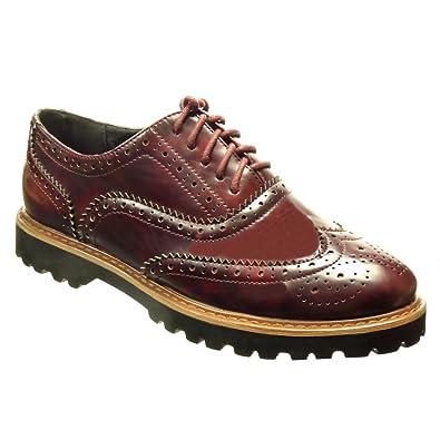 Angkorly Damen Schuhe Brogue Schuh Derby Schuh Patent