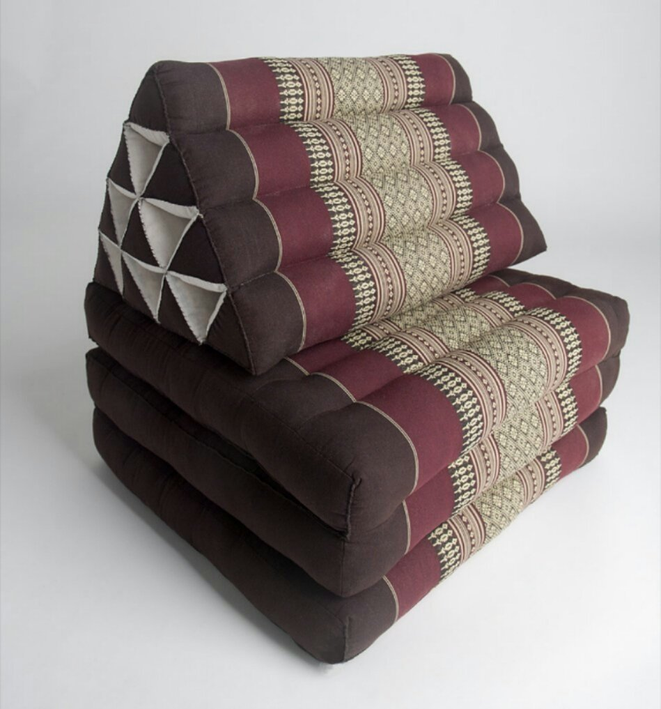 Thai Handmade Foldout Triangle Thai Cushion, 67x21x3 inches, Kapok Fabric,Brown Red, Premium Double Stitched by WADSUWAN SHOP Thai Mattress