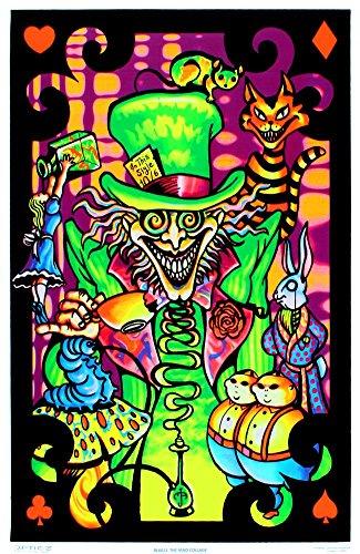 Alice in Wonderland Mad Hatter Collage Flocked Blacklight Poster Art Print (DESIGN 1, 1)