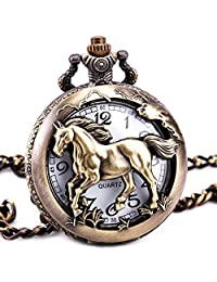 TD Unisex Vintage Retro Horse Skeleton Hollow Quartz Pocket Watch Pendant Necklace Sweater Chain + BOX