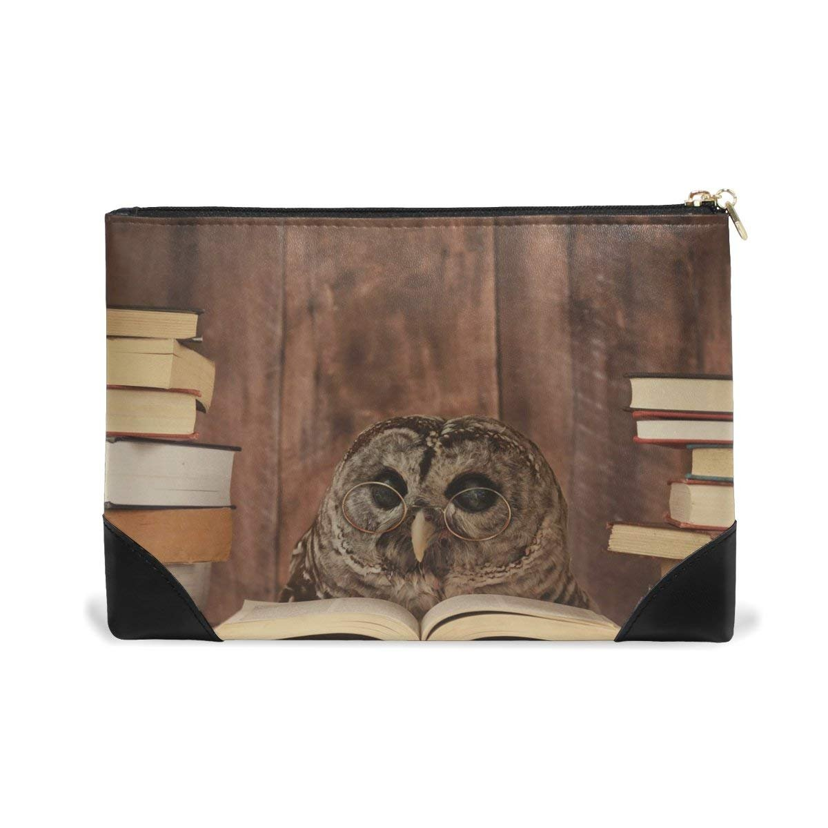 BLEFE Retro Owl with Glasses Reading Book Makeup Cosmetic Bag Pouch Travel Bag for Women Girls