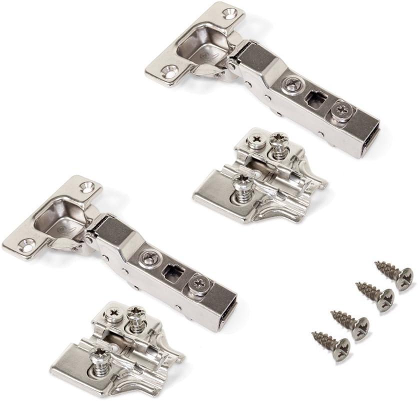 Emuca 1014407 Pack de 2 bisagras de cazoleta /Ø35mm 100/° para puerta arremetida y suplementos Euro con regulaci/ón exc/éntrica