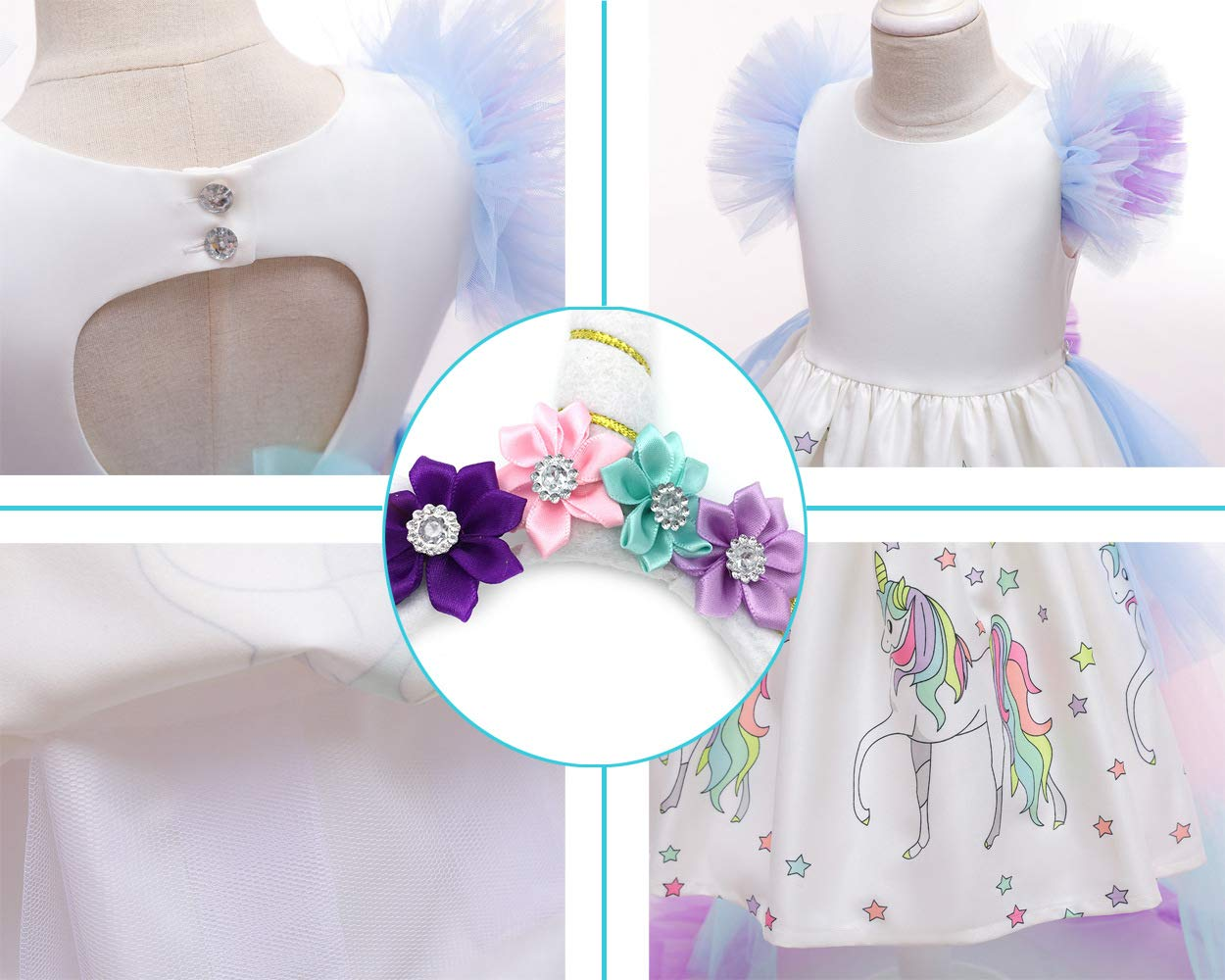 JiaDuo Girls Princess Party Dress, Rainbow Tutu Train & Headband 8