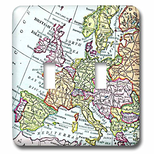 3dRose LLC lsp_112938_2 Vintage European Map of Western Europe Britain Uk France Spain Italy Etc Retro Geography Travel Double Toggle Switch by 3dRose
