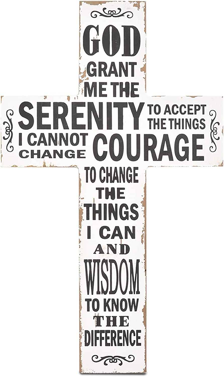 Handmade Crucifix Wall Cross with Serenity Prayer - White Wooden Cross - Rustic Decor Wall Cross for Home