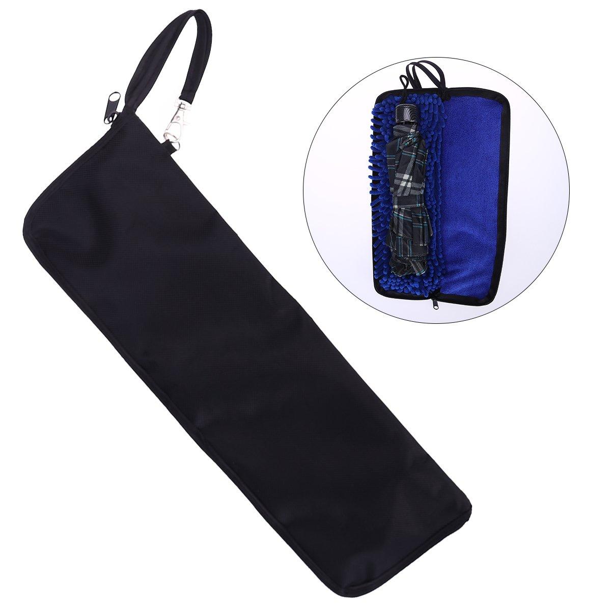 OUNONA Super Water-Absorbent Umbrella Bag Case Zippered Closure Portable Pouch Blue