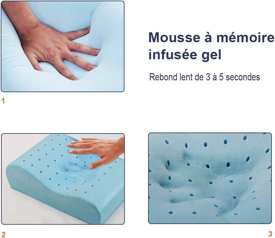 Gel Infus/é 60x40x10//13 cm BedStory Oreiller Ergonomique /à M/émoire de Forme Oreiller Cervicales Douloureuses Coussin Anti-Acarien et Orthop/édique Oreiller Hypoallerg/énique avec Housse en Tencel