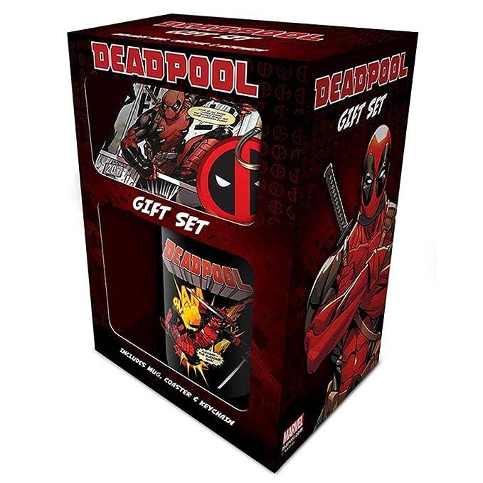 Deadpool - Juego de taza con posavasos y llavero (Talla ...
