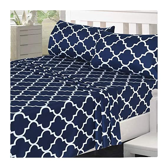 Utopia Bedding Printed Bed Sheet Set- Soft Brushed Microfiber Fabric-Easy Care - Wrinkle, Shrinkage and Fade Resistant 4 Piece Bedding (Queen, Quatrefoil Navy) - BED SHEET SET - Includes 1 flat sheet measuring 90 by 102 inches with a 4 inches self-hem; 1 fitted sheet measuring 60 by 80 inches with a 15 inches box for over sized bedding and 2 pillowcases measuring 20 by 30 inches each BRUSHED MICROFIBER - Polyester brushed microfiber fabric is twice as fine as silk that gives a soft feel and maximum comfort SOFT AND COMFORTABLE - Soft and comfortable material gives you the best of sleeping experience - sheet-sets, bedroom-sheets-comforters, bedroom - 61ViainJJ8L. SS570  -