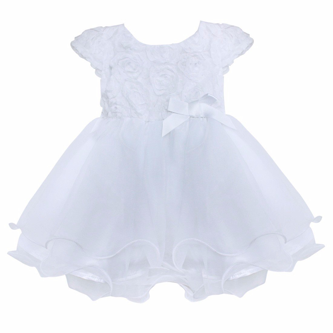FEESHOW Infant Baby Girls' 3D Rose Flower Organza Party Wedding Christening Baptism Dress by FEESHOW