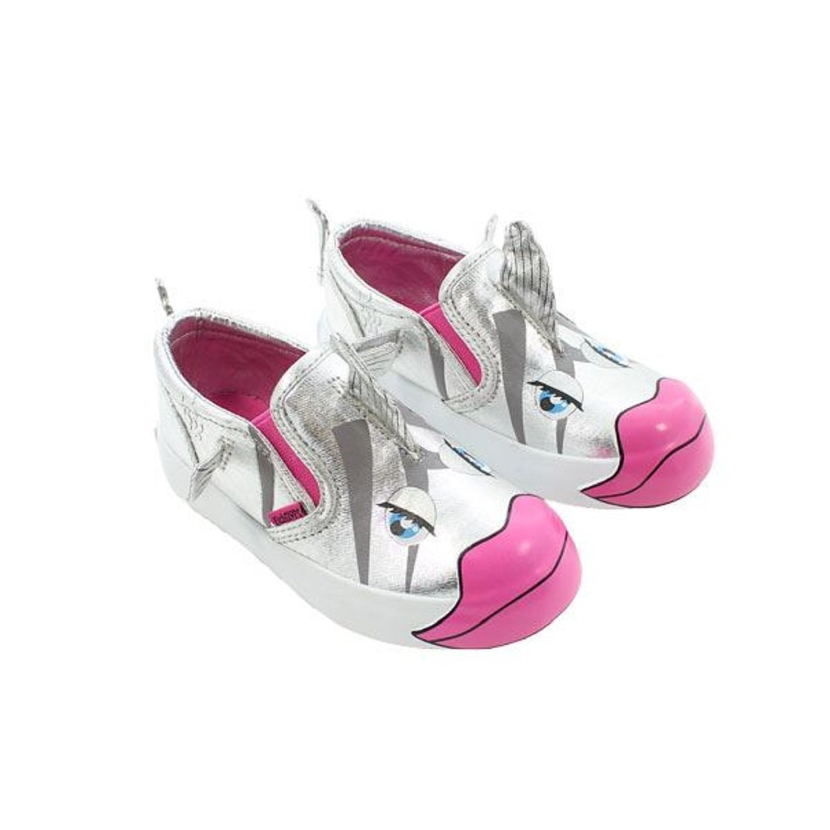 FISH FLOPS Silver Nessa Fuchsia Lips Slip-On Toddler Shoes Size 9