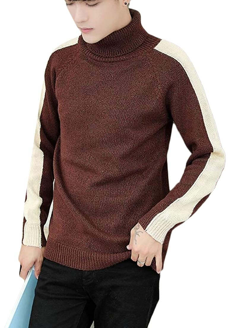 Alion Mens Turtleneck Slim Color Contrast Hipster Knitting Pullover Sweaters