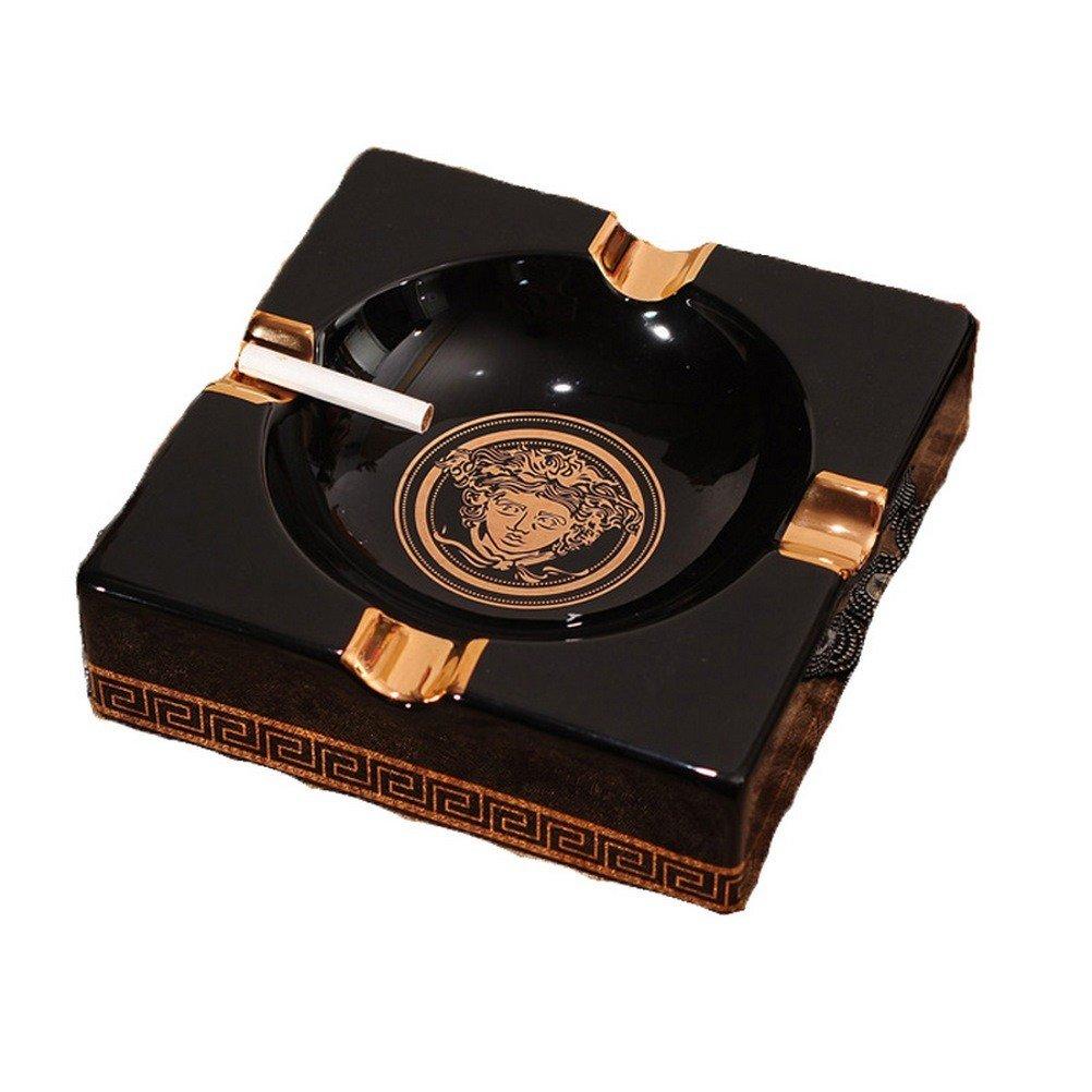 TYFhxo European Ceramic Black Large Medium Cigar Ashtray Simple Living Room Coffee Table Club Bar Windproof Ashtray
