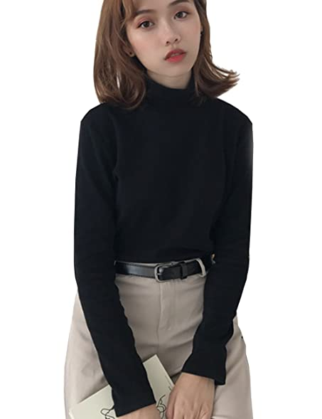8117b9db TR Womens Supersoft Long Sleeve Turtle Neck Top Solid Shirts (Black, One  size)