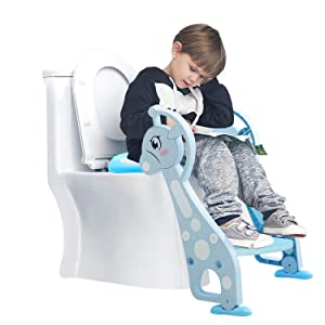 SEA or STAR Toddler Toilet Training Seat Baby Potty with Ladder and Cushion for Boys and Girls
