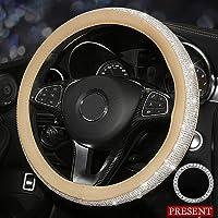 Pahajim Stuurwiel Bescherming Stuurwiel 38cm/15 inch Auto Interieur Stuurwiel Decoratie Diamant Versie Auto…