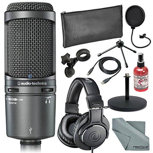 Audio-Technica AT2020USB+ Cardioid Condenser USB Mac & Windows Compatible Microphone Bundle with Headphones + Sanitizer + Cable + Pop Filter + Stand + Fibertique Cloth