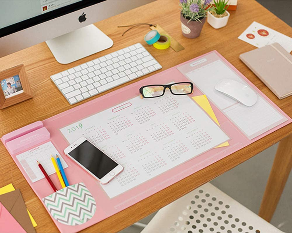 Desk Pad with 2019 Calendar, Aisakoc 25.6'' x 12.6'' Waterproof Desk Mouse Pad Multifunction Desk Mat with Phone Holder, Pockets and Planner Cards (Pink)