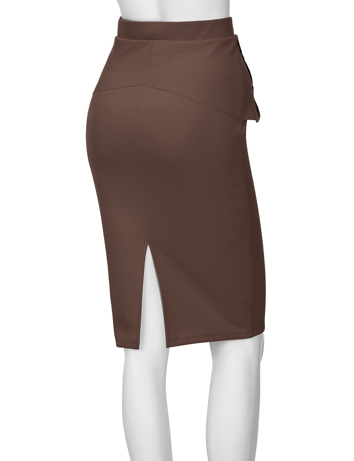 Regna X Womens high Waist Elastic Band Sexy Knee Length Skirts Brown XL by Regna X (Image #4)