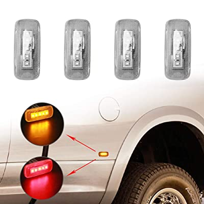 5-LED Side Marker Lights for 2010-2020 Dodge Ram 2500 3500 HD Dually Trucks Rear Bed Fender Lights Replaces (2x Amber 2x Red): Automotive
