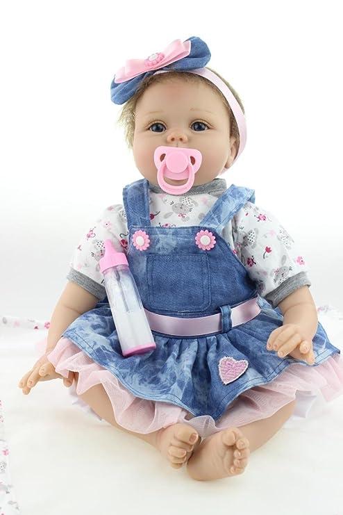 ZIYIUI 22 Pulgadas Realista Muñecas de bebé Reborn Vinilo Suave Silicona Muñeca Realista Niñas Pequeños Magnetismo Juguetes Contiene Ropa