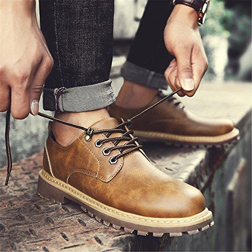 Rain Mens Klassisk Klänning Oxfords Avslappnade Pu Läder Spets Upp Låga Sneakers Gul