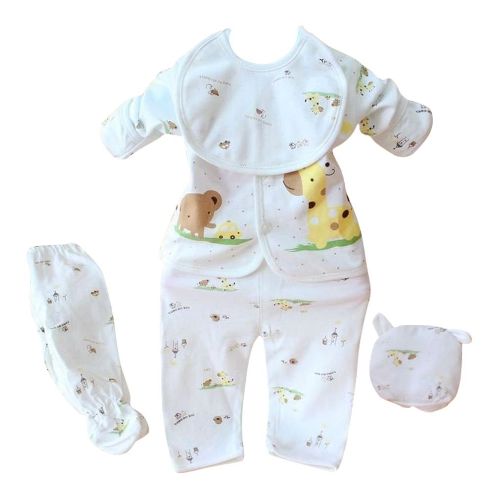 5Pcs Kids Baby Clothes Romper Bodysuit Unisex Outfits Tops+Pants+Bib+Hats Caps