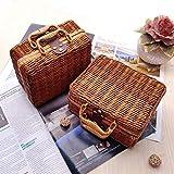 TSY Retro Wicker Suitcase,Brown Wicker Picnic