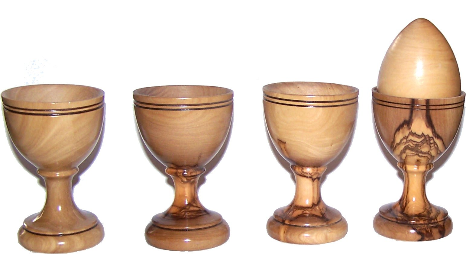 Four olive wood Communion/Egg Cups - great style - Asfour outlet brand - Set of 4