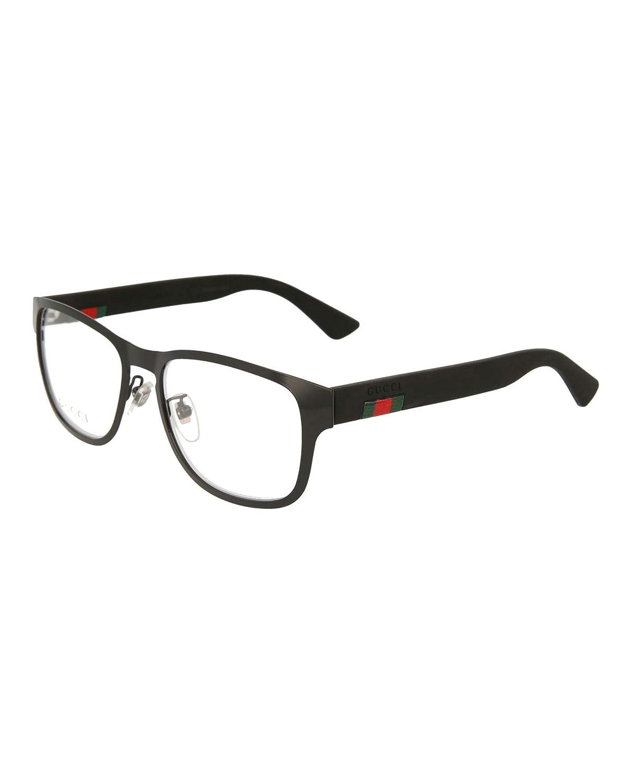 30bdc732c58 Amazon.com  Gucci GG 0175O 002 Black Metal Rectangle Eyeglasses 54mm   Clothing