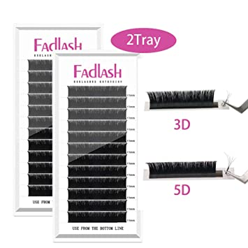 44fa75e55b6 Volume Lash Extensions, 2 Trays D Curl 0.07mm 13mm+15mm Rapid Blooming  Eyelash