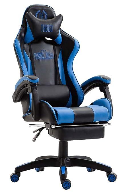 CLP Silla Gaming Ignite Tapizada en Cuero Sintético I Silla Gamer Regulable en Altura & Giratoria I Silla Racing con Ruedas Deslizantes I Color: Negro/Azul: ...