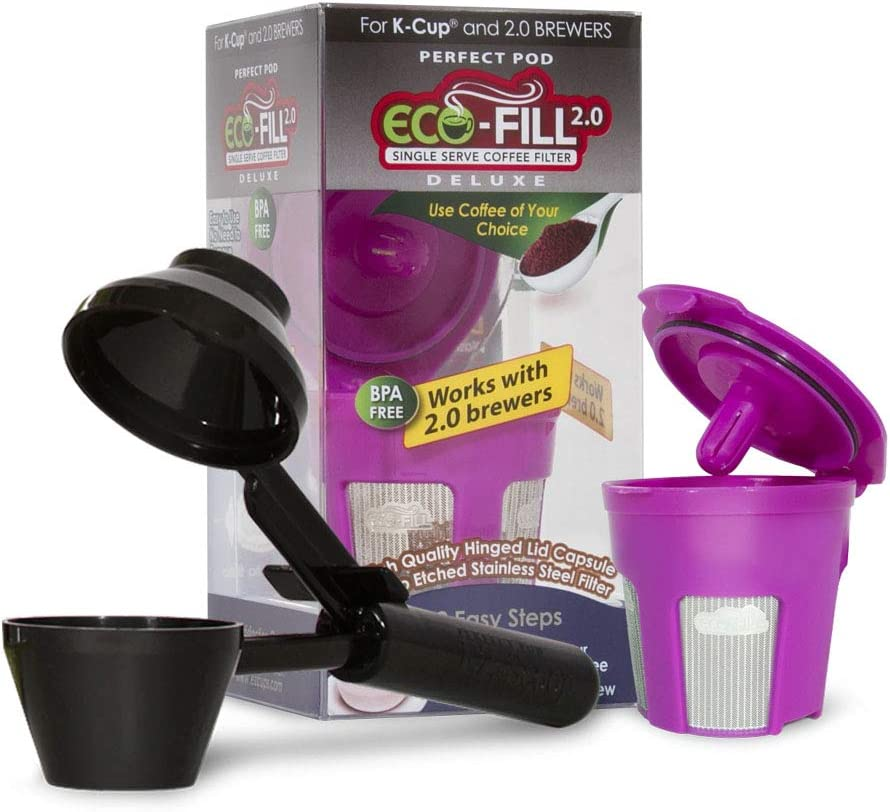 Perfect Pod ECO-Fill 2.0 Deluxe Reusable K-Cup Coffee Pod Filters | Compatible with Keurig 2.0 & Select Single Cup Coffee Makers (Reusable Filter + Coffee Scoop Bundle)