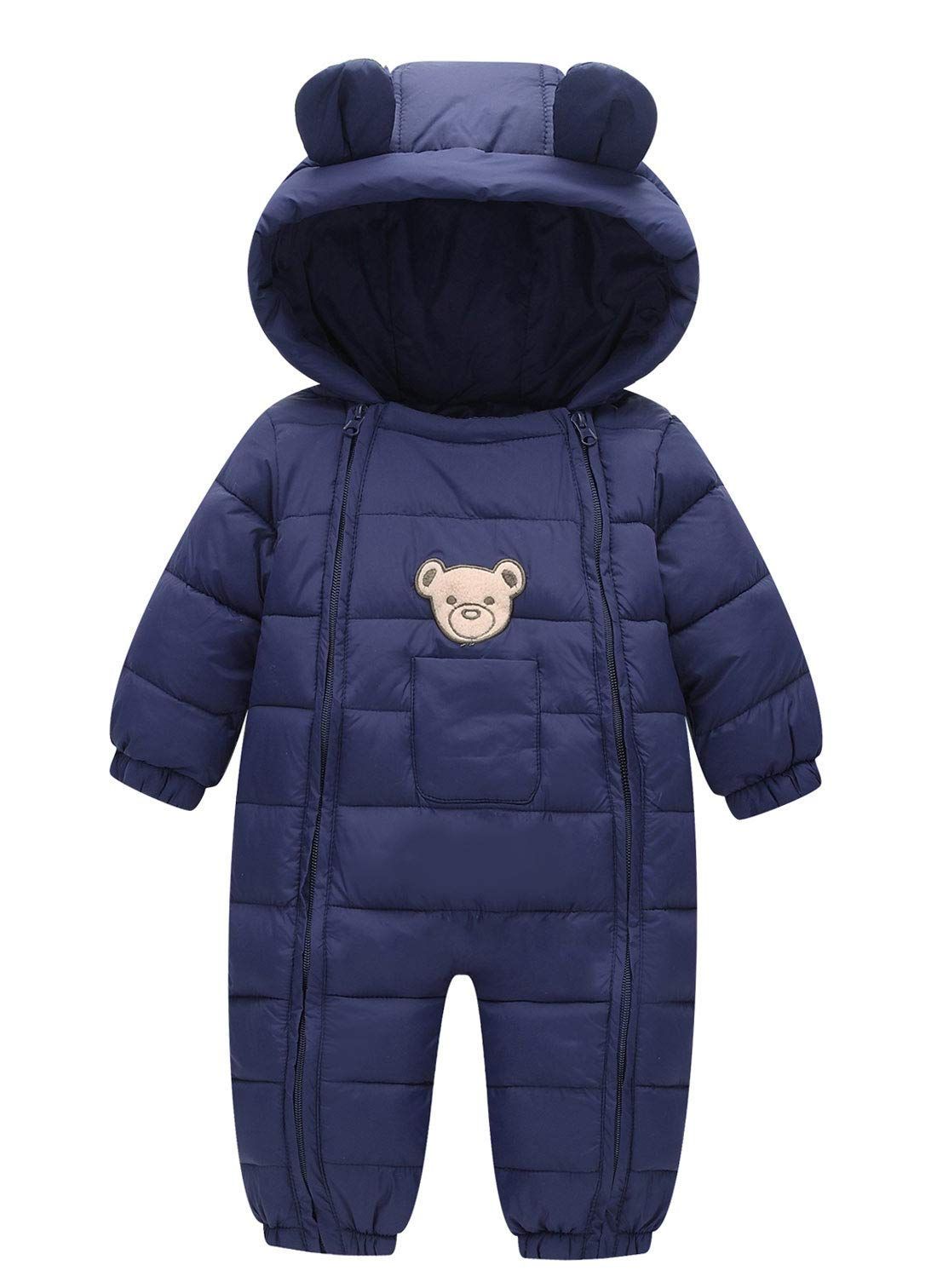 Happy Cherry Winter Bunting for Toddler Boys Girls Full Body Snowsuit Winter Thermal Coat One Piece Snow Wear Navy 12-18 Months by Happy Cherry